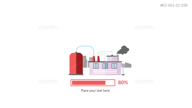 Factory building with progress bar as energy efficiency infographic