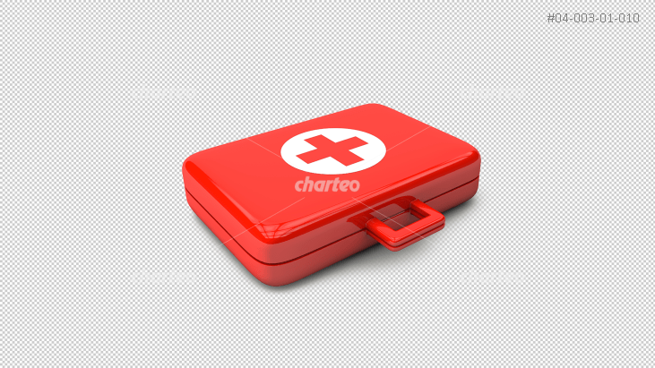 3D - red doctor's case with red cross
