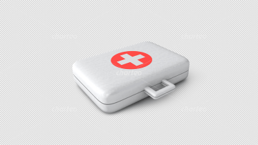 3D - silver doctor's case with inverted red cross