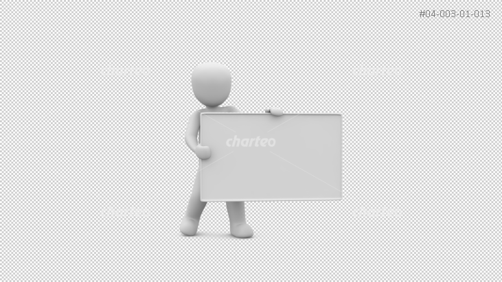 3D person holding business card to the side