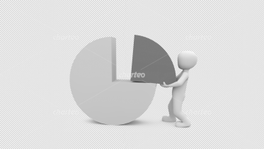 3D person holding part of pie chart