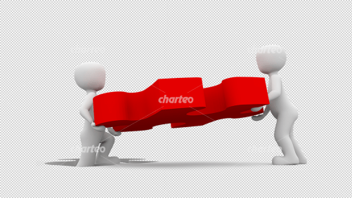 Two 3D people carrying a red puzzle piece