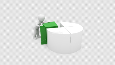 3D person pushing green part of pie chart