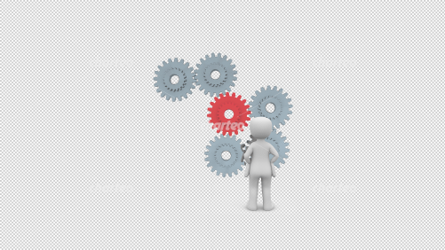 3D person observing several meshing cogwheels in motion