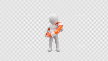 3D person wearing an orange lifebelt
