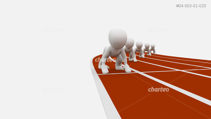 3D people starting race on running track