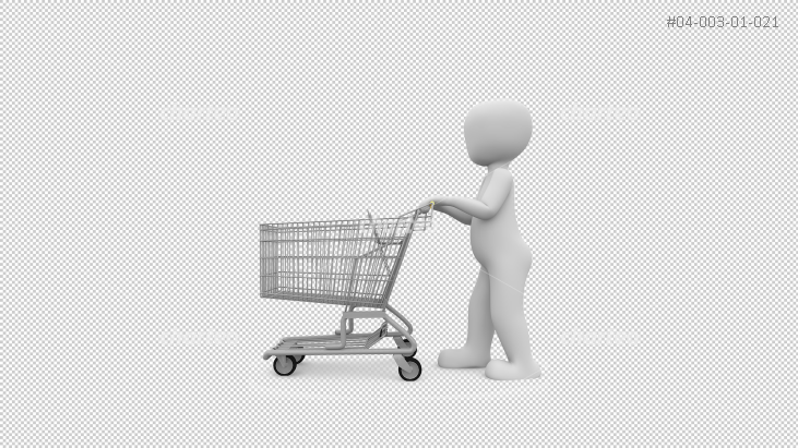 3D person pushing a shopping cart