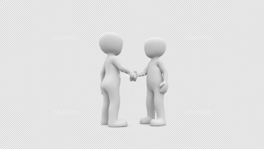 Two 3D people shaking hands on a partnership