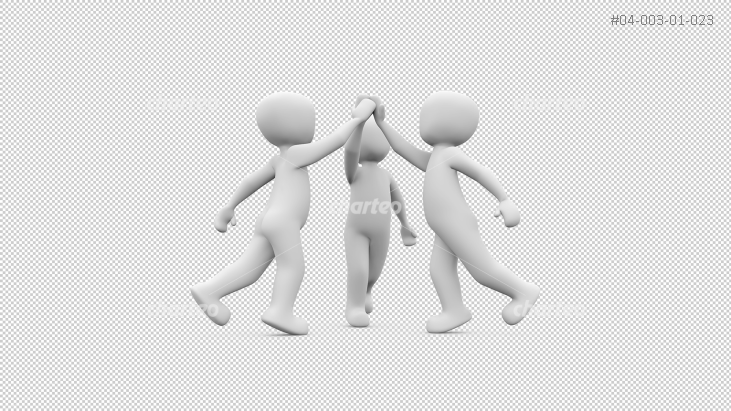 Three 3D people giving a high five