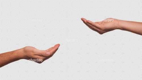 Two begging hands making a scooping gesture