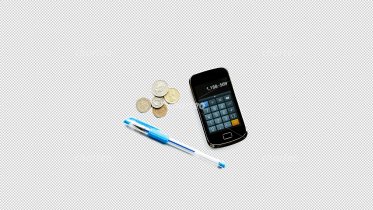 Pen, coins and smartphone display with calculator app