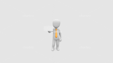 3D person wearing tie holding small business card