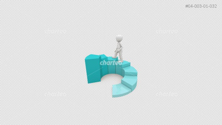 3D person climbing circular stairs