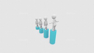3D people standing on differently sized pillars