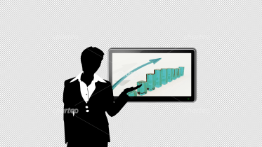 Business woman presenting a column chart on monitor