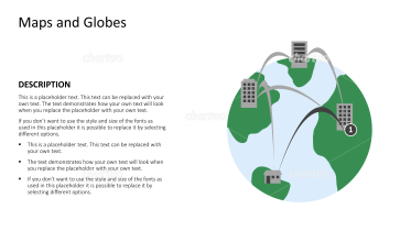 Globe with network of connected buildings