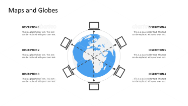Globe surrounded by ring of connected laptop icons