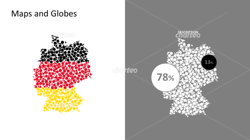 Two maps of Germany made of circles