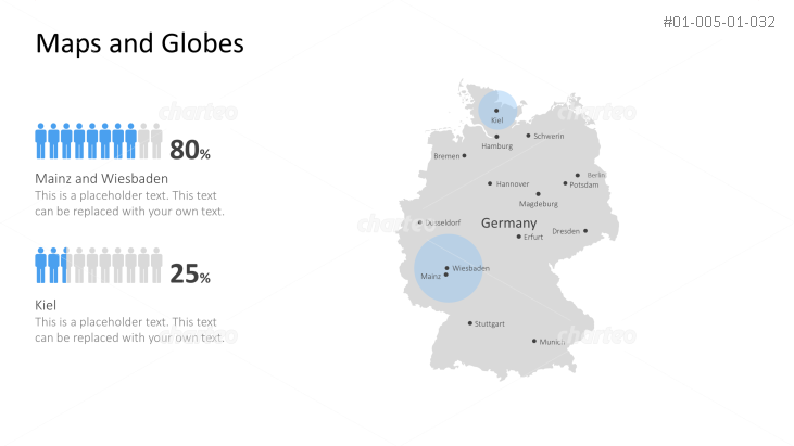 Shape of country with city names - Germany