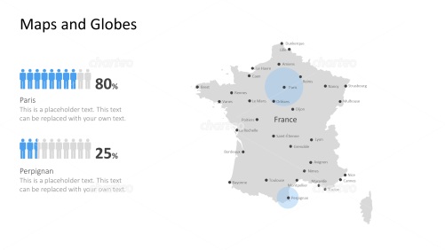 Shape of country with city names - France