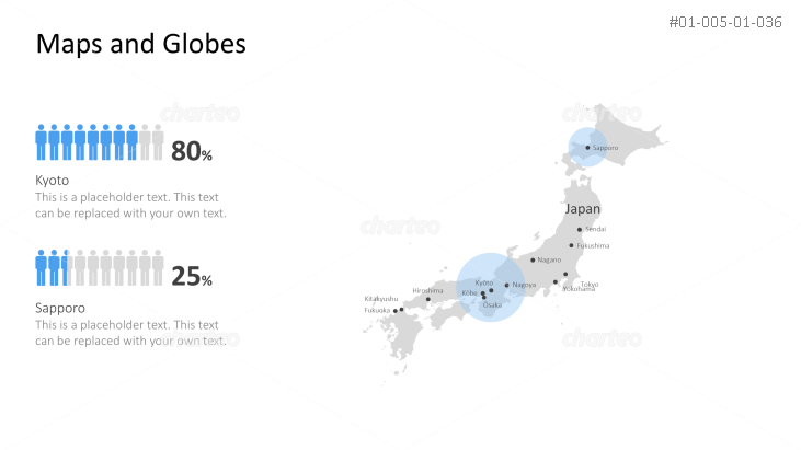 Shape of country with city names - Japan