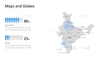 Shape of country with city names - India
