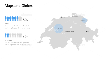 Shape of country with city names - Switzerland