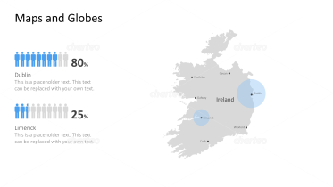 Shape of country with city names - Ireland