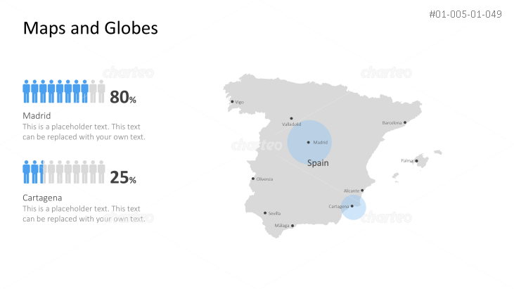 Shape of country with city names - Spain