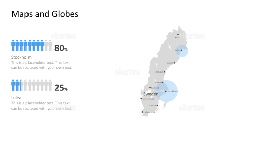Shape of country with city names - Sweden