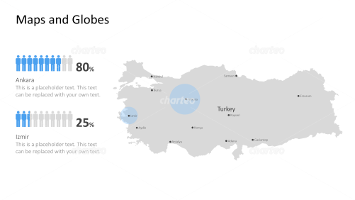 Shape of country with city names - Turkey