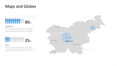 Shape of country with city names - Slovenia