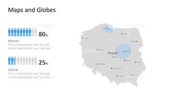Shape of country with city names - Poland