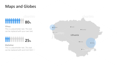 Shape of country with city names - Lithuania