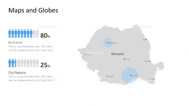 Shape of country with city names - Romania