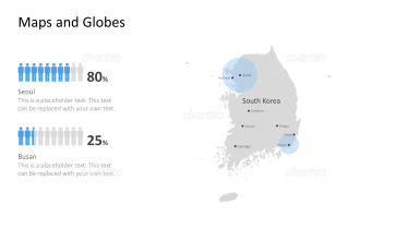 Shape of country with city names - South Korea