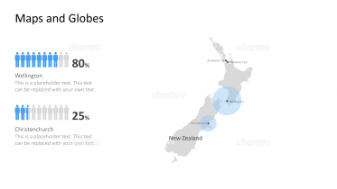 Shape of country with city names - New Zealand