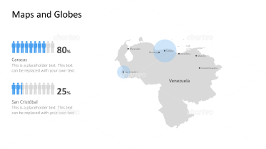 Shape of country with city names - Venezuela