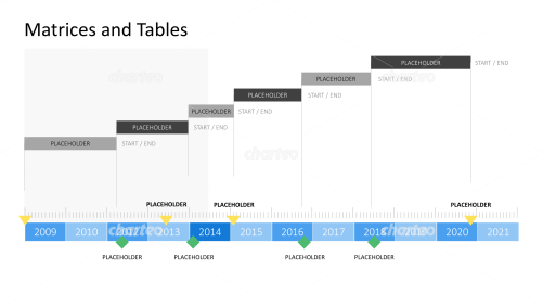 Gantt chart with year timeline in measuring tape optics