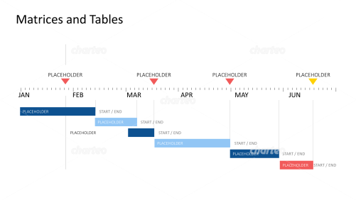 Half-yearly Gantt chart with measuring tape timeline