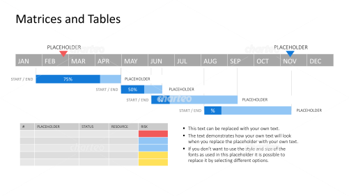 Year-round Gantt chart with table chart