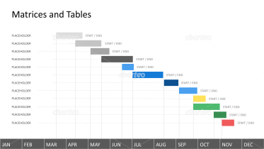 Year-round Gantt chart with colored tasks
