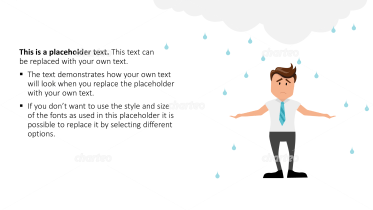 Cartoon People - Man stands under rain cloud