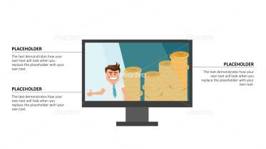 Cartoon People - Monitor screen with person and coins