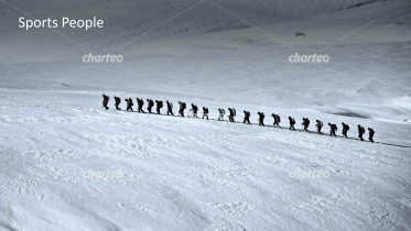 Sport People - Group of mountain climber in snow landscape 1