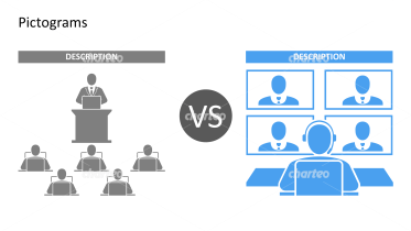 Pictograms - Comparison online conference vs conference with present people