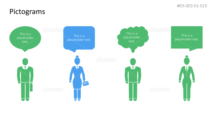 Pictograms - Men and women with speech bubbles in different shapes