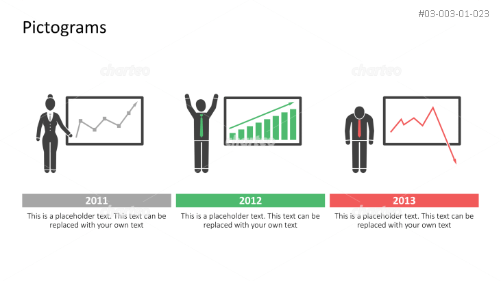 Pictograms - Timeline with people and charts