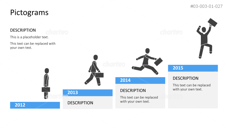 Pictograms - Timeline worker rises up on stairs