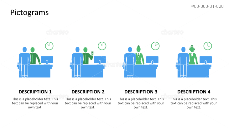 Pictograms - Day in the office with people at the desk